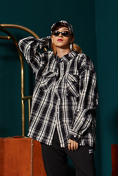 [30000Shop]OVER CHECK SHIRTS(BLACK)
