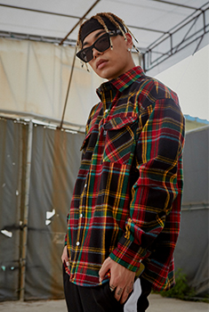 [SALE 50%]OVER CHECK SHIRTS(RED)