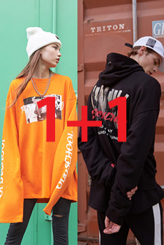 [10월21일예약발송][1+1 EVENT SALE 55%]NEW SUBUCLUTRE HOOD T(기모) + NEW GOOD DAY T