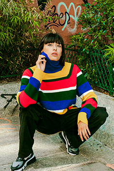 [10000Shop]STRIPE TURTLENECT KNIT