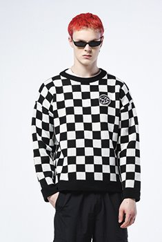 [20000Shop]CHESS PATTERN KNIT